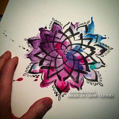 Mandala. Colours: black on purple, pink, blue, green