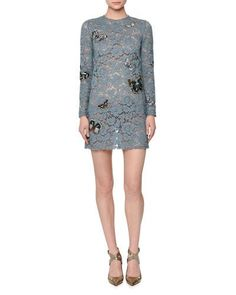 W0CP7 Valentino Butterfly-Embellished Lace Mini Dress, Ardesia (Dusty Blue)
