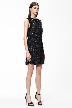 Monique Lhuillier | Pre-Fall 2015 | 03 Black beaded belted sleeveless mini dress