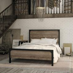 Amisco Industries Ltd.   Cordoba bed   •	Industrial collection bed •	Made of superior North American steel and distressed solid wood (birch) •	Available in 14 metal colors • 5 distressed solid wood colors to choose from • Available in full, queen and king size #HPmkt