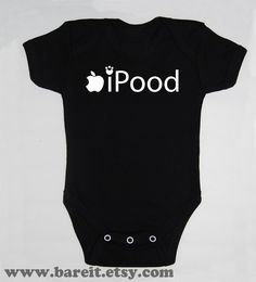 Ipood Inspired By Apple Cute Baby Humor Funny Onesie/Creeper/Bodysuit Inspired by Apple Size 3 Month Color Black. $15.00, via Etsy.