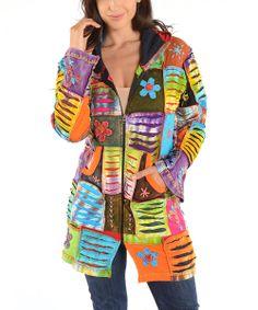 Colorful! Rainbow Patchwork Hoodie - Women #zulilyfinds #springfashion