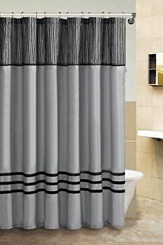 Fabric Shower Curtain Silver And Black Victoria Classics Amazon