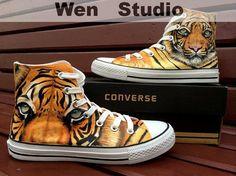 2b1f59e476b5 UAE Dubai Tiger Converse Custom Hand Painted Shoes
