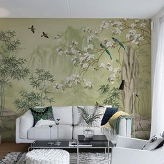 Lemon Green Landscape Scenic Wallpaper Wall Mural Moutains Trees Bamboo Birds Flowers Wall Decal B Scenic Wallpaper, Wall Wallpaper, Wall Murals, Wall Art, Wall Decal, Chinoiserie Wallpaper, Cleaning Walls, Green Landscape, Palm Springs