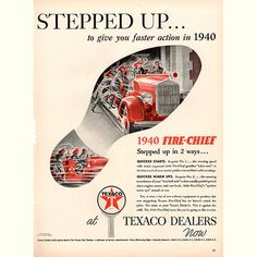 1940 Texaco Fire Chief Gasoline Original Fuel and Energy Print Ad -An original vintage 1940 advertisement, not a reproduction -Measures approximately x to x -Ready for matting and fram Vintage Advertisements, Vintage Ads, Gas Energy, Ad Car, Print Magazine, Life Magazine, Oil Industry, Texaco, Old Signs