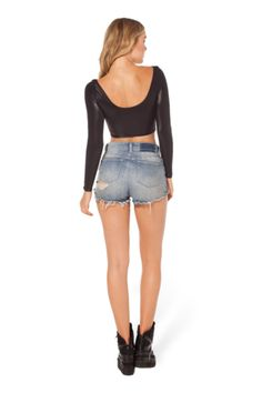 Wet Look Long Sleeve Crop - Black Milk Clothing