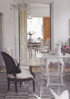 Stripe Rug. Lucite Chairs Tall Ceilings. Lucite Chairs, Lucite Furniture,  Home Furniture