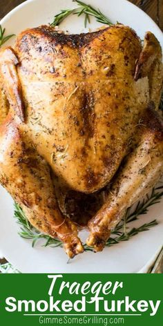 Make your Thanksgiving Turkey on your Traeger electric smoker this year! This tu… Make your Thanksgiving turkey this year on your Traeger Electric Smoker! This turkey is put in brine and then spiced to a juicy, tender turkey! Traeger Smoker Recipes, Pellet Grill Recipes, Smoked Meat Recipes, Grilled Chicken Recipes, Grilling Recipes, Jerky Recipes, Grilling Ideas, Seafood Recipes, Thanksgiving Recipes