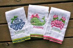 custom embroidered baby burp pads