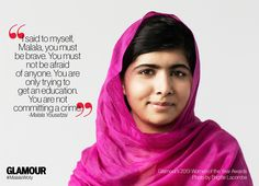 Malala named 2013 Glamour Women of the Year honoree.