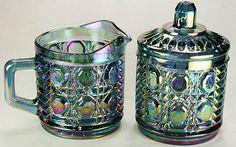 VTG Iridescent Carnival Glass Cream & Sugar Set Blue Purple Amethyst Creamer VGC