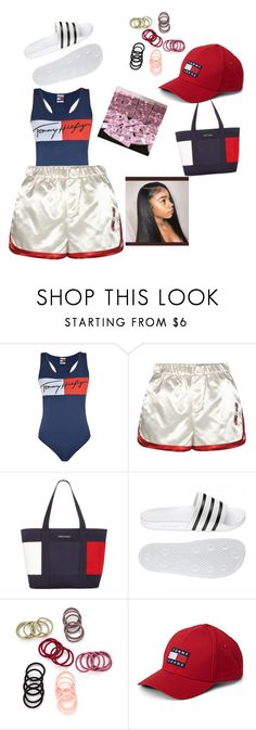 """""""Tommy's girl day at the beach"""" by jai-breezzy ❤ liked on Polyvore featuring Tommy Hilfiger and adidas"""