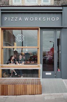 Small pizza, retail facade, shop facade, cafe exterior, restaurant exterior d Design Shop, Coffee Shop Design, Shop Front Design, Shop Interior Design, Cafe Design, Retail Design, Store Design, Café Exterior, Design Exterior