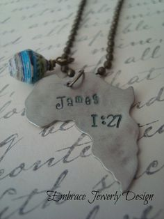 Africa Hand Stamped Necklace with James 1:27 by Embrace Jewelry Design,
