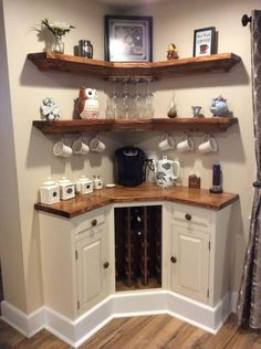 Here are 30 brilliant coffee station ideas for creating a little coffee corner that will help you decorate your home. See more ideas about Coffee corner kitchen, Home coffee bars and Kitchen bar decor, Rustic Coffee Bar. Diy Home Decor, Room Decor, Diy Home Bar, Wall Decor, Home Coffee Stations, Coffee Station Kitchen, Coffee Bar Station, Sweet Home, Home Design