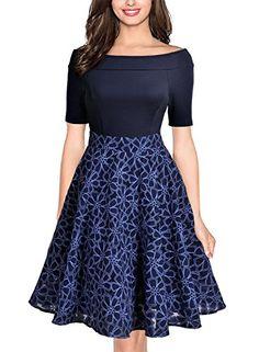 Miusol Women's Casual Off Shoulder Floral Flare Contrast Party Dress