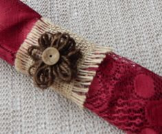 BURLAP NAPKIN RING Burlap with Brown by ModernClassicbyCarol