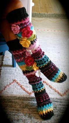 Long wool women ladies anelmaiset socks, Anelmaiset socks, warm winter knitted over the knee socks, striped, colorful knee length / high socks Knitting Designs, Knitting Patterns, Crochet Patterns, Irish Crochet, Knit Crochet, Knit Leg Warmers, Knit Stockings, Crochet Circles, Irish Lace