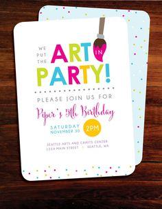 Art party Birthday invitations set of 15 by polkaprints on Etsy