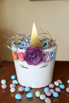 Painted unicorn clay pot Easter basket or party favor