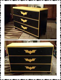 DIY chalk paint batman begins dresser.