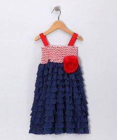 Take a look at this Navy & Red Chevron Smocked Ruffle Dress - Toddler & Girls by Million Polkadots on #zulily today! CUTE 4TH OF JULY DRESS :)