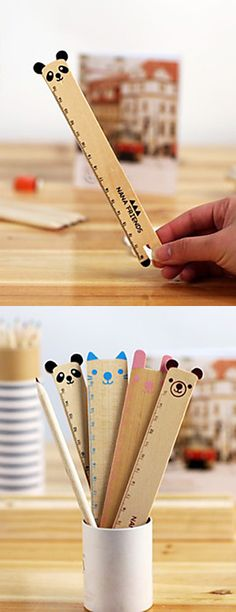 Cute animal wooden ruler //