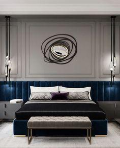 Hotel Room Design, Luxury Bedroom Design, Master Bedroom Design, Master Suite, Interior Design, Master Master, Bedroom Designs, Blue Bedroom Decor, Bedroom Sets