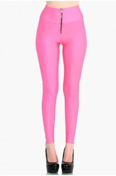 OMG HIGH WAIST ZIPPER FRONT LEGGINGS - SHINY NYLON TRICOT - Pink