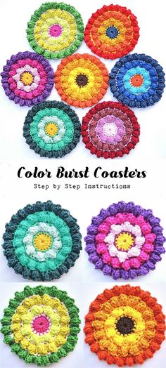 Crochet Color Burst Coasters