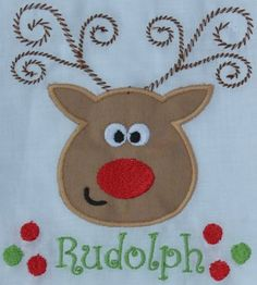 Rockin Reindeer Applique Set In the Hoop - Our Reindeer Appliques are going to rock your Christmas! Perfect for dish towels, outfits, pillow cases, pillows and more! Each reindeer has their own personality. Rudolph's name is surrounded by sweet polka dots, Sweet little Cupid has hearts around her name, Vixen loves the high heels framing her name, and Blitzen has had too many of the martinis flanking his! Set comes with all 4 reindeer appliques in sizes to fit both 5x7 ...