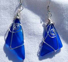 Wire Wrapped Cobalt Blue Sea Glass Earrings by RosiesArtSoup