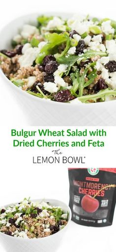 Bulgur Wheat Salad with Dried Cherries and Feta – The Lemon Bowl® - New Site Bulgar Wheat Salad, Bulgur Salad, Couscous, Bulgur Recipes, Salad Recipes, Healthy Meal Prep, Healthy Recipes, Healthy Food, Delicious Recipes