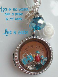 Beach Charms Summer Custom Jewelry Personal Necklace Origami Owl www.jenmyer.origamiowl.com