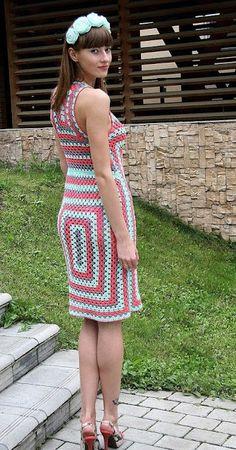 felt-artelechka: Granny square on the new! Knit Dress, Dress Skirt, Crochet Summer Dresses, Moda Boho, Beautiful Crochet, Crochet Clothes, Crochet Top, Creations, Crafts