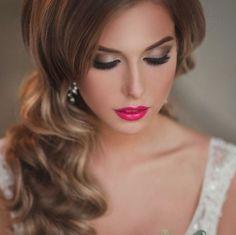 Makijaż ślubny z różowymi ustami. ///Wedding makeup with pink lips