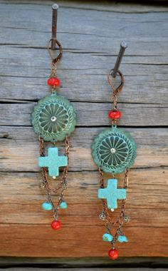 Rustic bling Southwest style turquoise copper coral by Purrrls