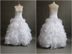 Tulle And Satin Sweetheart Princess White Fluffy by bridesmall, $178.50