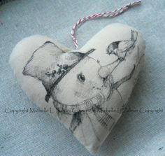 Heart Soft Sculpture Pincushion Pillow Ornament Pen Ink Fabric Illustration by Michelle Palmer Winter Snowman Baby Sparrow Bird Songbird
