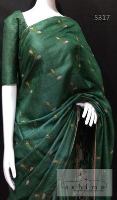 Tussar Silk Saree With Cross Stitch Pattu Saree Blouse Designs, Saree Blouse Patterns, Deepika Padukone Saree, Sari Design, Tussar Silk Saree, Elegant Saree, Saree Look, Salwar Pants, Salwar Kameez