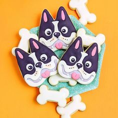 From sweet sugarbelle's tooth cutter Cut Out Cookies, No Bake Cookies, Sugar Cookies, Cookie Crush, Unicorn Cookies, Best Mate, Cookie Decorating, Cookie Cutters, Boston Terrier