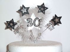Diamante, Feather and Stars Bithday Cake Topper 18th,21st,4th, 50th, 60th & more   eBay