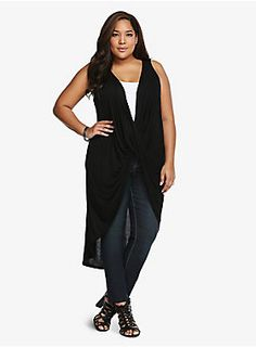 """It's time to get your sexy drape on. This low-cut, black tank has a revealing front that's ideal for layering. A long hi-lo hem brings a trendy feel to this lightweight style. It's a look that's sure to twist things up in a fun way for girl's night out.<ul><li> Size 1 measures 19 1/4"""" from shoulder</li><li>Rayon</li><li>Wash cold, dry low</li><li>Made in USA</li></ul>"""