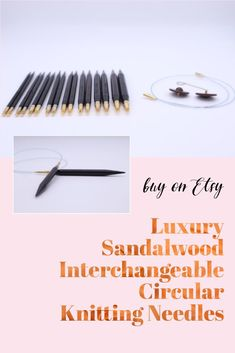 These beautiful interchangeable circular knitting needles are made from gorgeous dark sandalwood and are exceptionally light and lovely to knit with. The cables - available in 40, 60, 80 and 100 centimetres - are very flexible which makes them perfect for the magic loop technique. Available in multiple sizes. Wooden Knitting Needles, Magic Loop, Knitting Accessories, Knitting Projects, Dark, Luxury, Unique Jewelry, Handmade Gifts, Beautiful