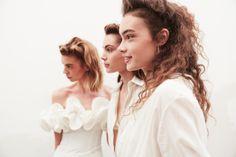 Sasha Kichigina, Romy Schonberger, and Michi Delane at Brock Collection for @wmagazine @made