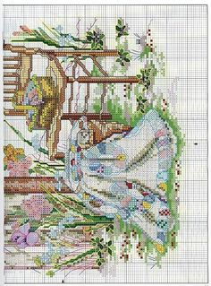 """""""Gateside Greeting"""" a cross stitch design by Paula Vaughan. Pattern included in the leaflet Grandmother's House.   Found on foromanualidades.facilisimo.com"""