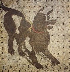"the floor mosaic from the house of the tragic poet. whether the artist who created this had ever actually seen a dog is in doubt. why are there bones on the outside? and why just two? it makes no sense. also why was it the house of the tragic poet? were they sad because their dog was messed up? probably. the inscription, ""cavec an em"", means ""beware of the dog"", so maybe the artist wanted to make the dog look menacing to scare people away. maybe they just weren't a great artist. who knows?"
