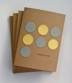Rainy Day Colors - 4 Thank You Cards Stationery Set in Yellow and Grey. $4.99, via Etsy.
