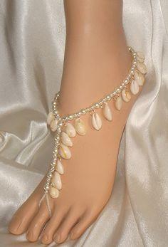 Real #Sea #Shells #Beach #Theme #Barefoot #Sandals, #foot #jewelry for the beach bride.  #Beach #Wedding Sandals On Sale $65.99 per pair http://www.beautifulbarefootsadnals.com